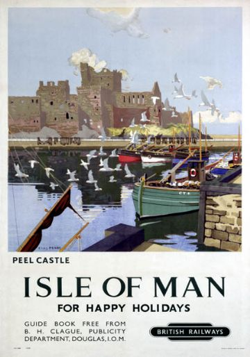 Peel Castle, St Patrick's Isle, Isle of Man. Vintage BR Travel Poster by Charles Pears. 1949.